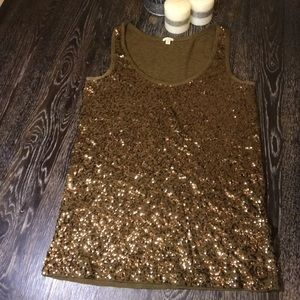 J.CREW GOLD SEQUENCE TANK